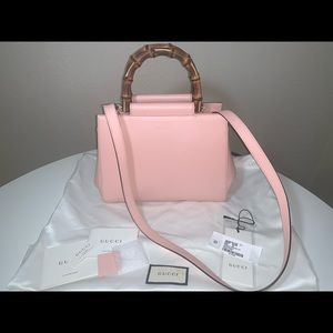 Authentic Gucci Nappa Bamboo Nymphaea Top Handle